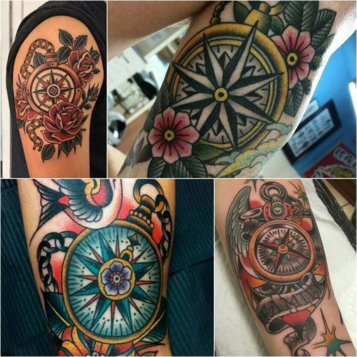 old school tattoos - old school compass tattoos - old school tattoos for men