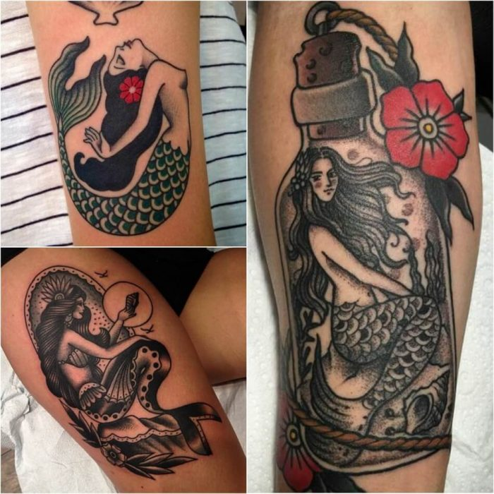 old school tattoos - sailor jerry mermaid tattoo - old school tattoo mermaid