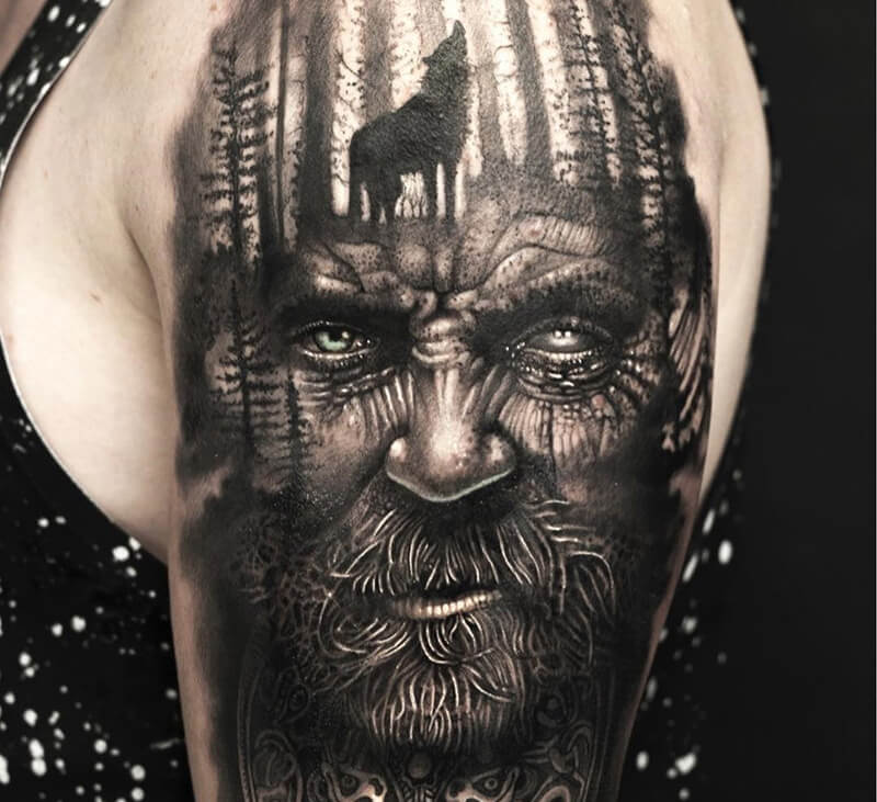 scandinavian tattoos - odin tattoo - viking tattoos sleeves