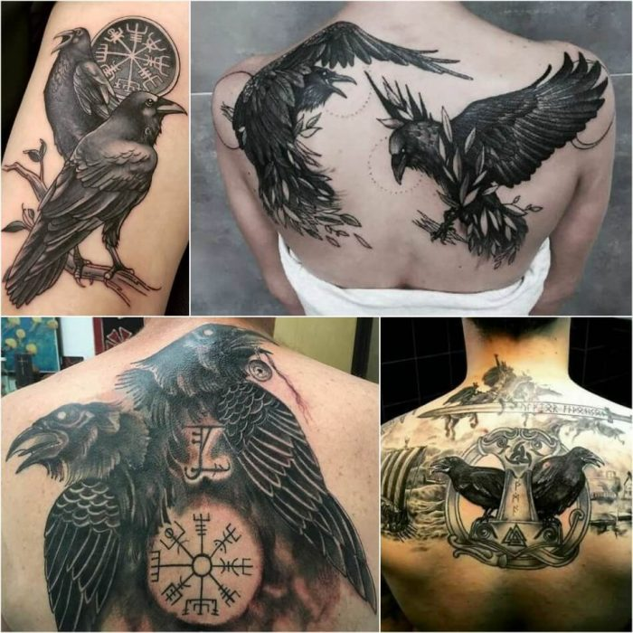 scandinavian tattoos - raven tattoo meaning - huginn and muninn tattoo meaning