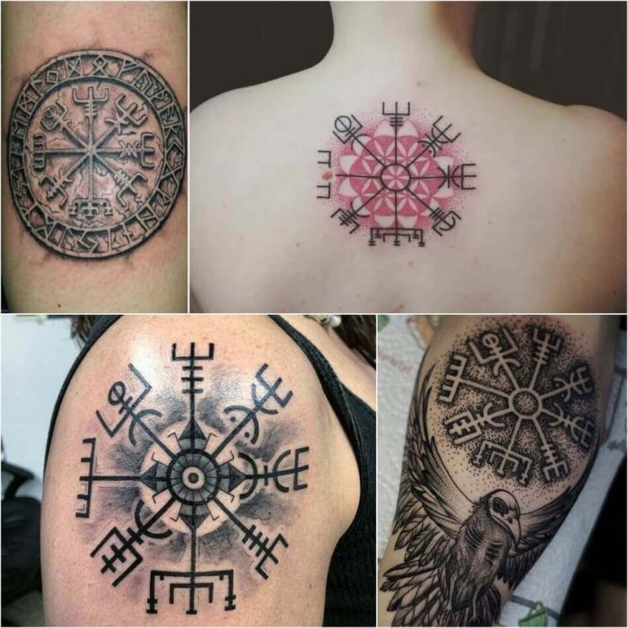 scandinavian tattoos - vegvisir tattoo - runic compass tattoo