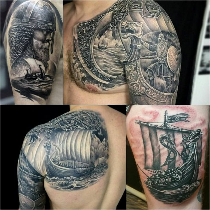 scandinavian tattoos - viking ship tattoo - nordic tattoos and meanings