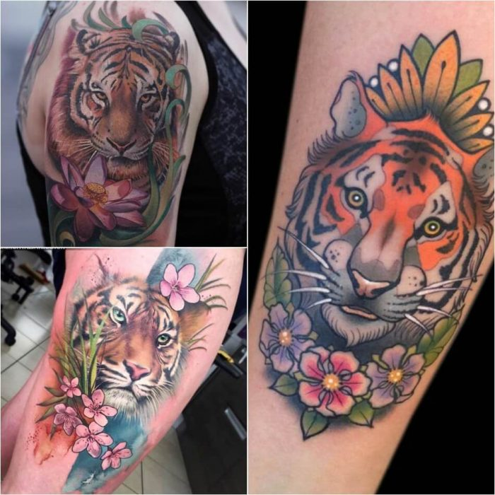 tiger tattoos - tiger tattoos for females - tiger tattoos with flowers