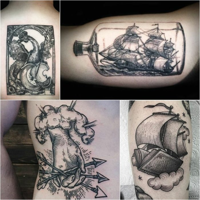 woodcut tattoo - etching tattoo - linework tattoo - skin engraving tattoos