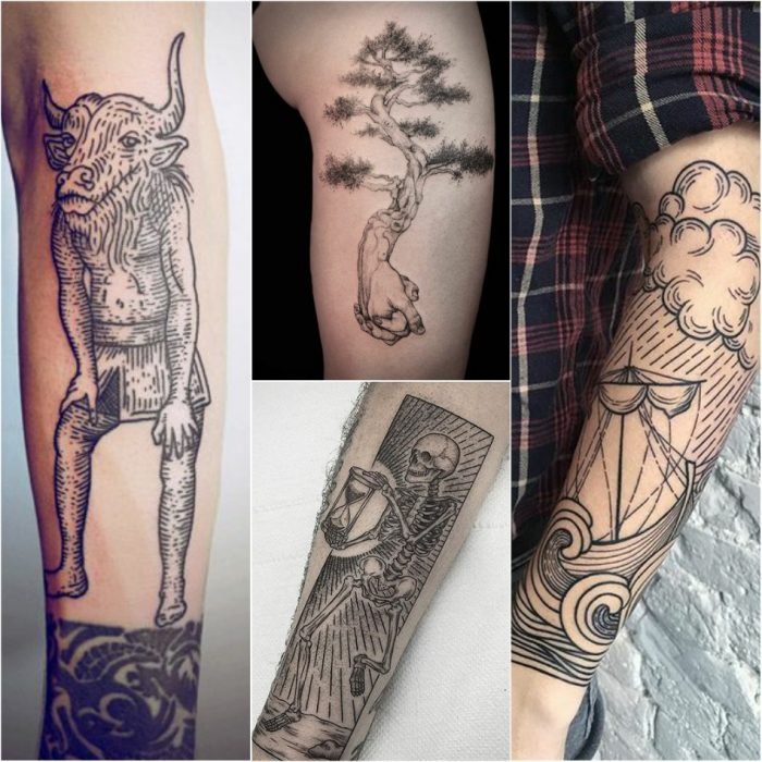 woodcut tattoo - etching tattoo - skin engraving tattoos
