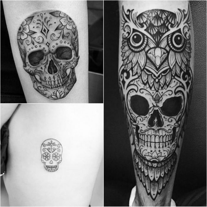 mexican skull tattoo - black and white sugar skull tattoos - sugar skull tattoo designs
