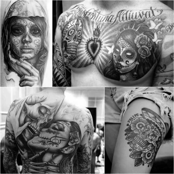 mexican skull tattoo - female sugar skull tattoos - black and white sugar skull tattoos