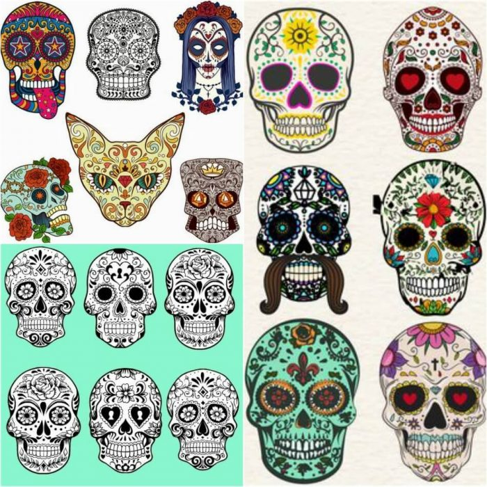 mexican skull tattoo - sugar skull tattoo designs - skull tattoo