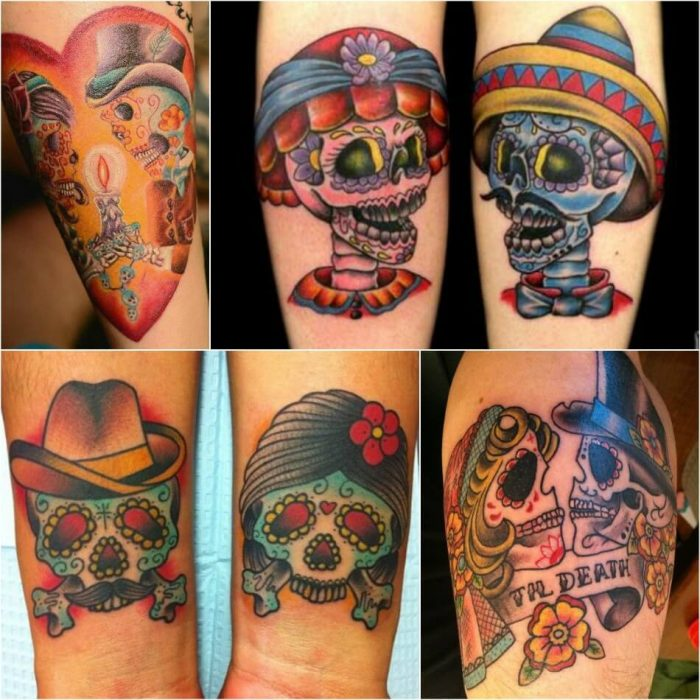 mexican skull tattoo - sugar skull tattoo designs - calavera skull tattoo