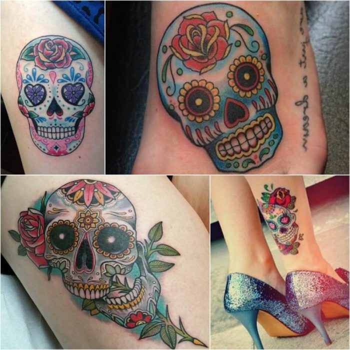 mexican skull tattoo - sugar skull tattoo - calavera skull tattoo ideas
