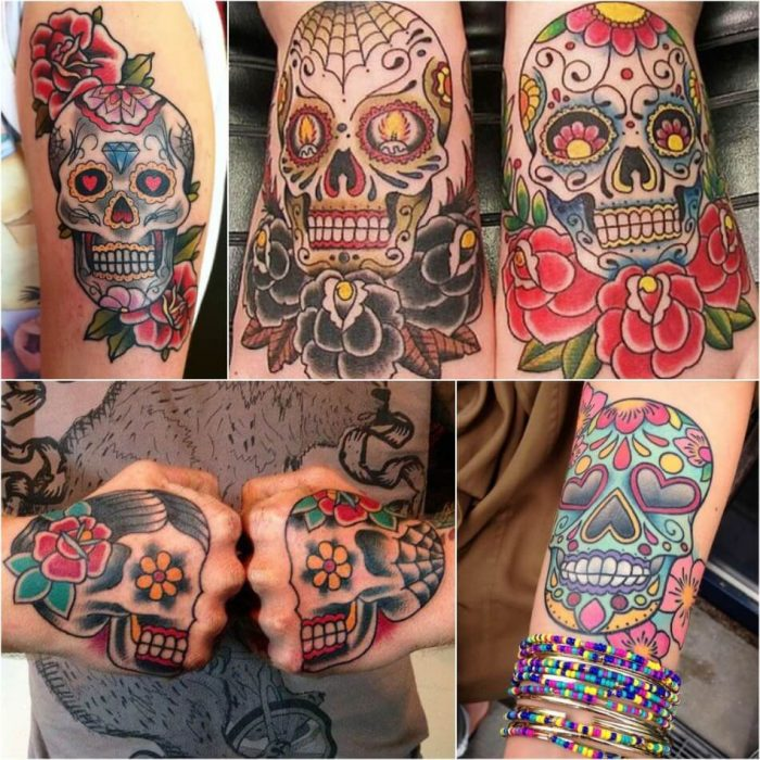 mexican skull tattoo - sugar skull tattoo - sugar skull tattoos for guys