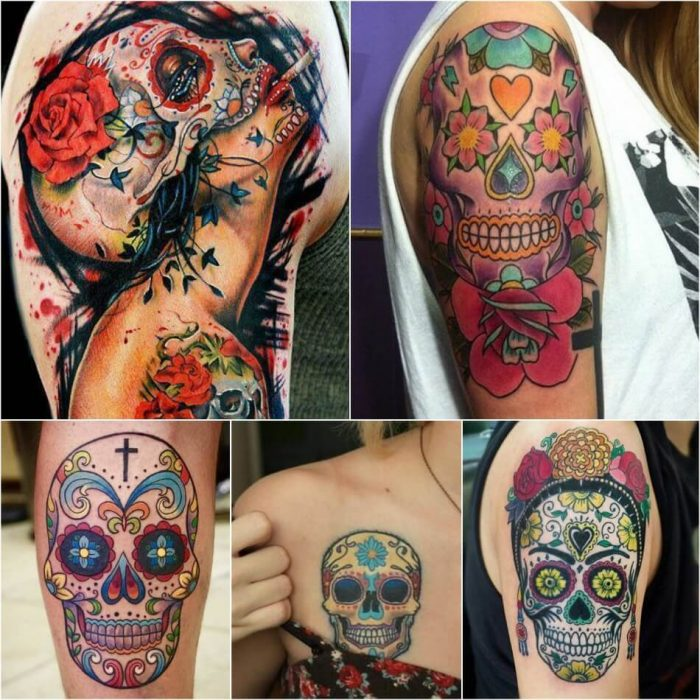 mexican skull tattoo - sugar skull tattoo - sugar skull tattoos with roses