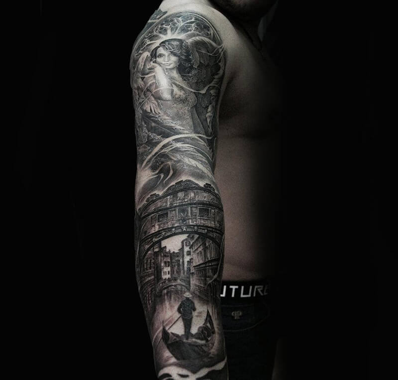 realism tattoo sleeve - tattoo realism - realism tattoos black and grey