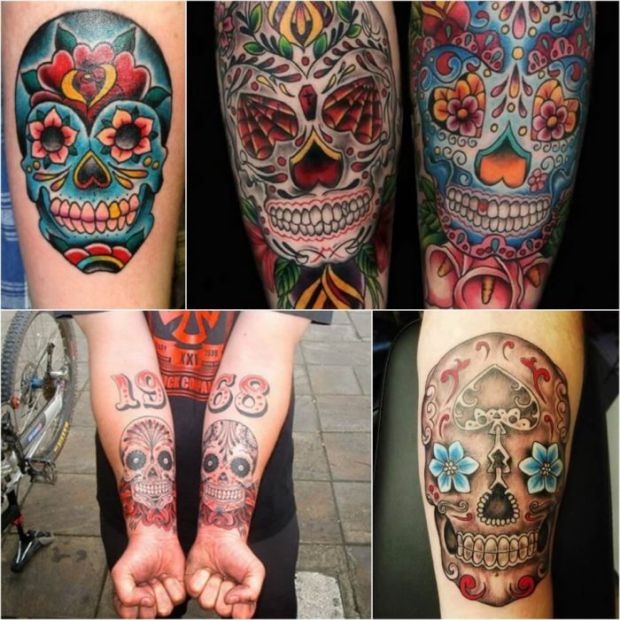 sugar skull tattoo - mexican skull tattoo - sugar skull tattoo