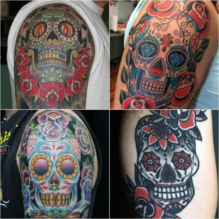 sugar skull tattoos for guys - mexican skull tattoo - sugar skull tattoo