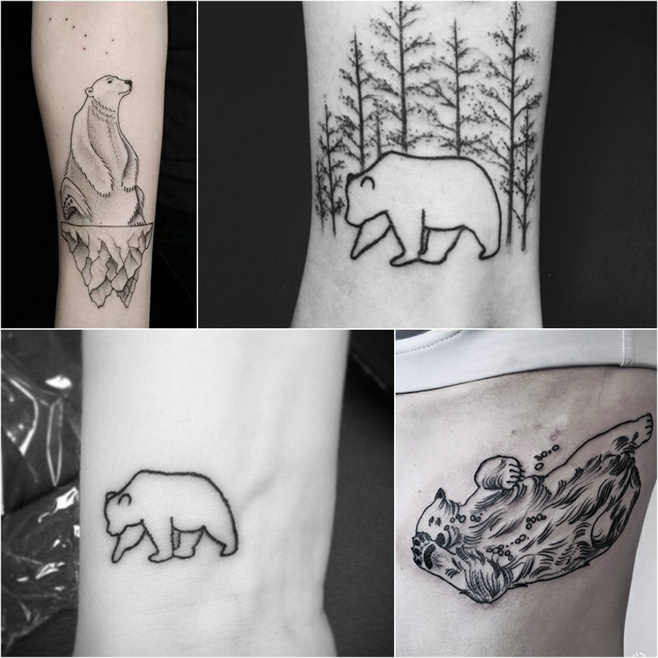 bear tattoo - bear tattoo for girl - simple bear tattoo