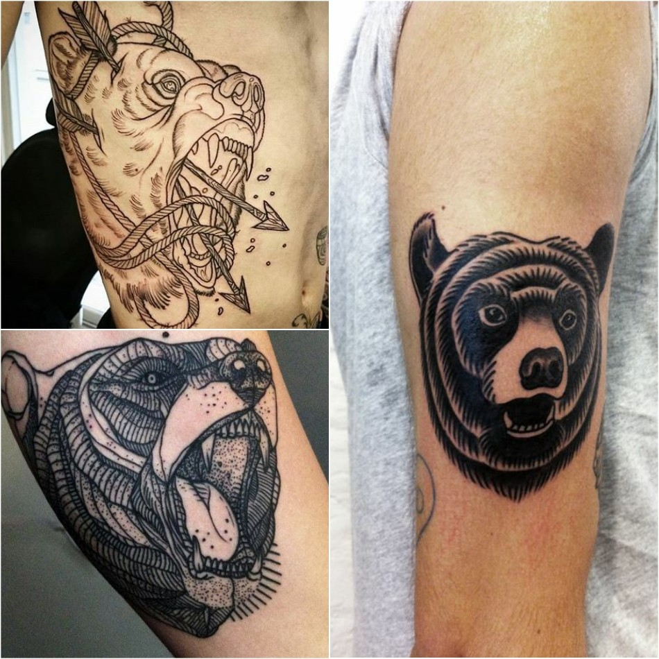 bear tattoo - bear tattoo for men - bear tattoo on arm