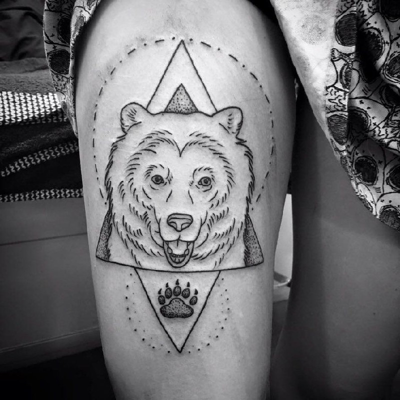 bear tattoo - bear tattoo meanings - simple bear tattoo
