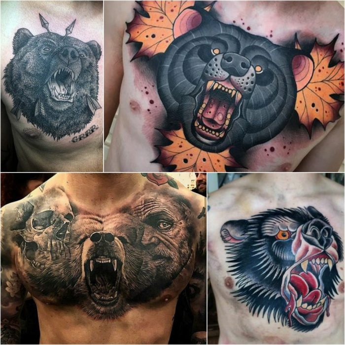 bear tattoo on chest - bear tattoo - traditional bear tattoo