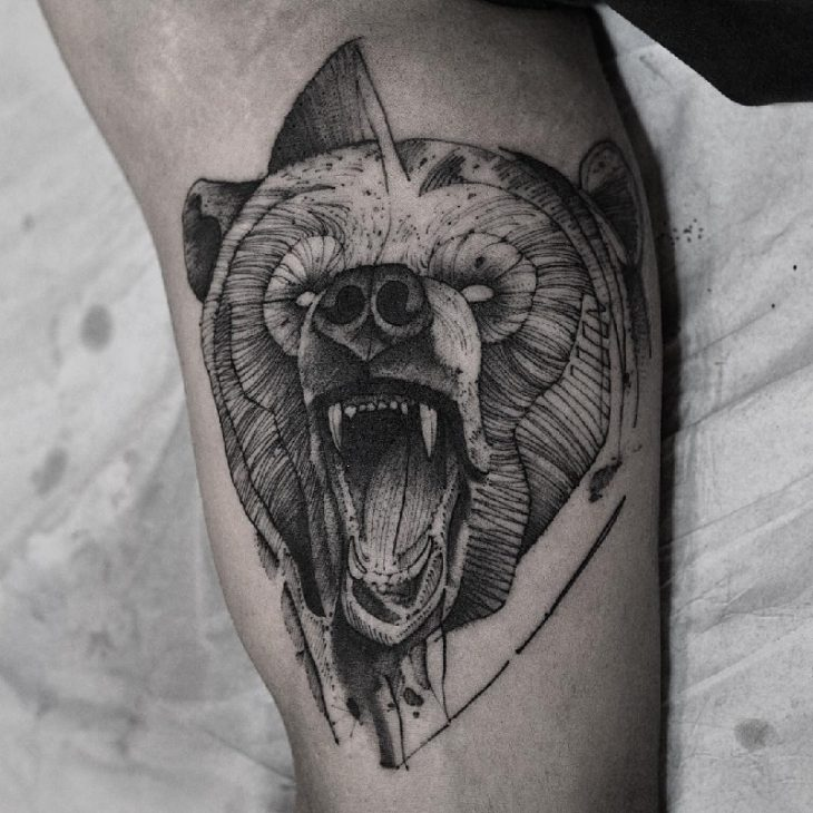 bear tattoo - traditional bear tattoo - bear tattoo meanings