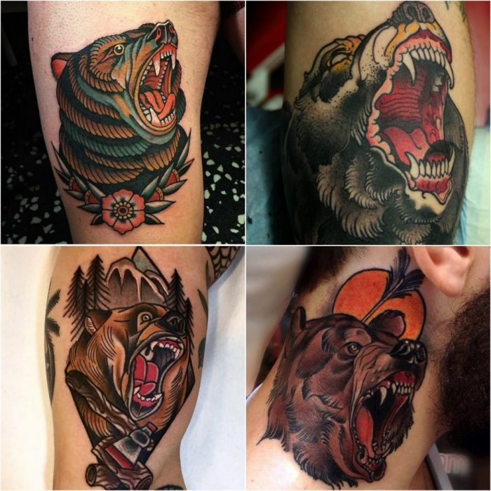 bear tattoo - traditional bear tattoo - bear tattoo new school