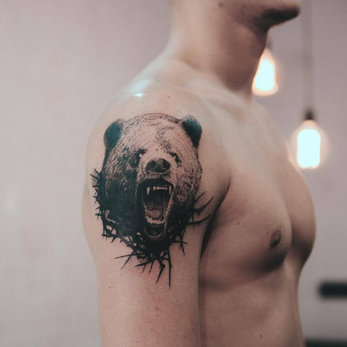 bear tattoo - traditional bear tattoo - bear tattoo on arm
