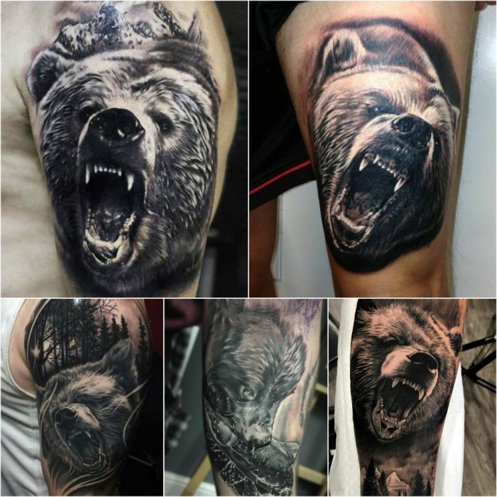 bear tattoo - traditional bear tattoo - bear tattoo sleeve