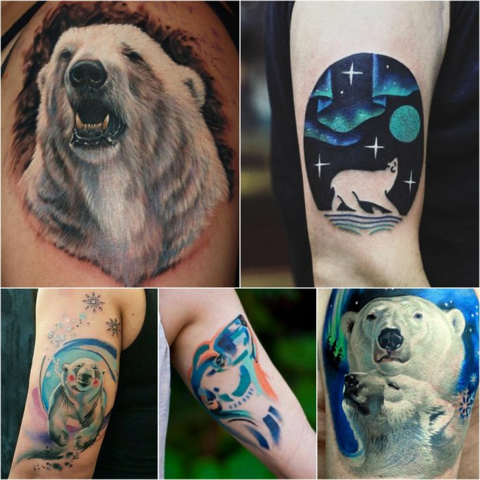 bear tattoo - white bear tattoo - cute bear tattoo