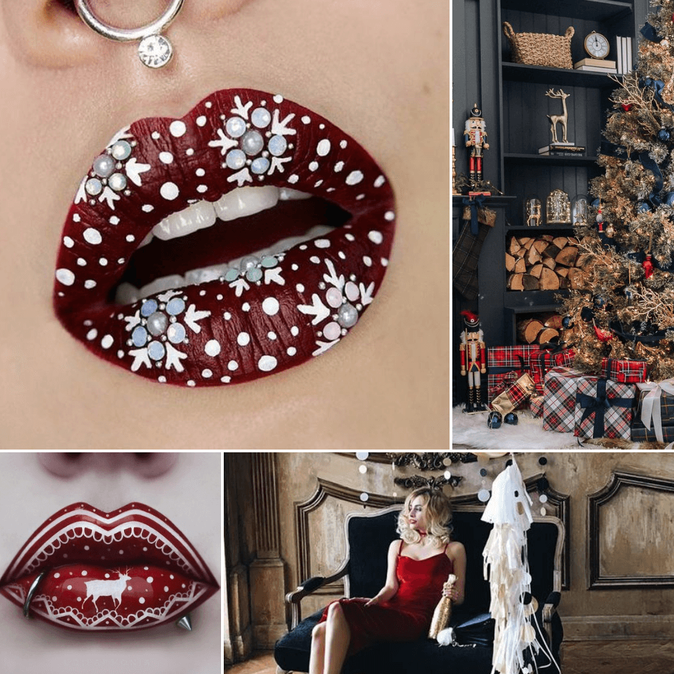 christmas lip art - lip art designs - satisfying lip art