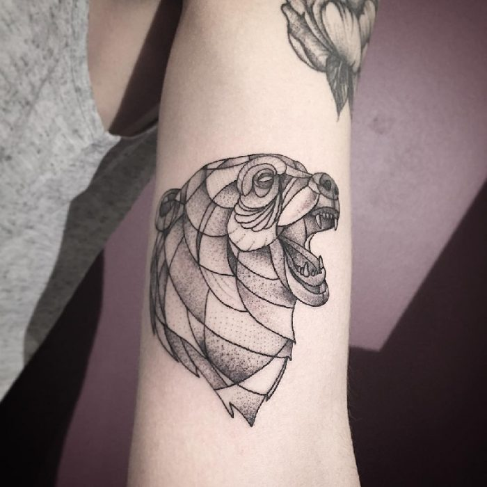geometric bear tattoo - bear tattoo - simple bear tattoo