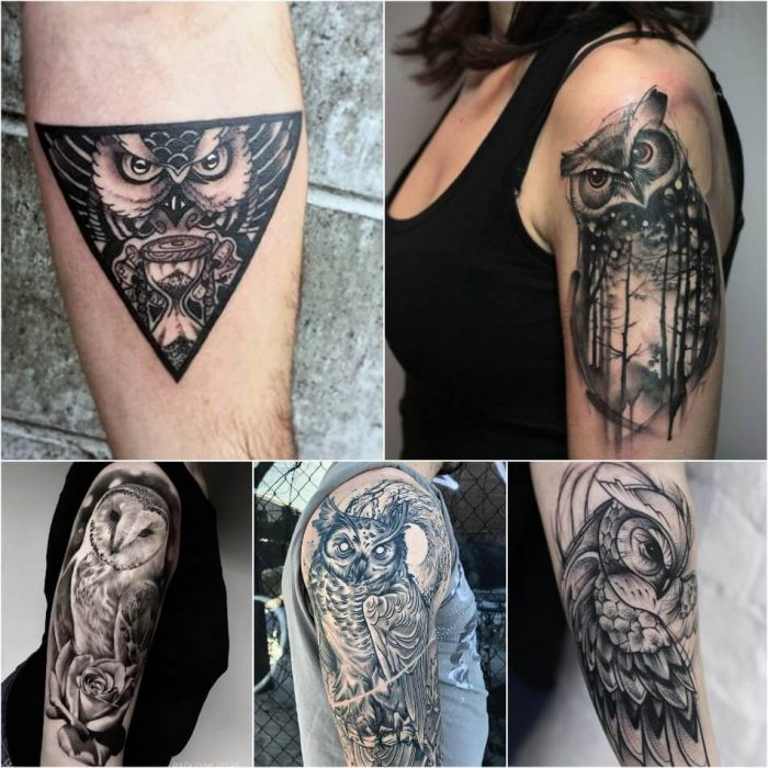 owl tattoo - owl tattoo on arm - black and white owl tattoo