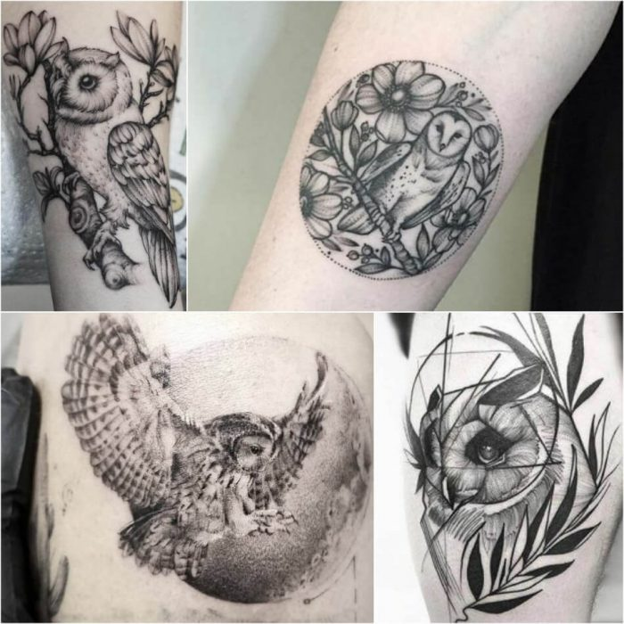 owl tattoo - owl tattoos black and grey - simple owl tattoos designs