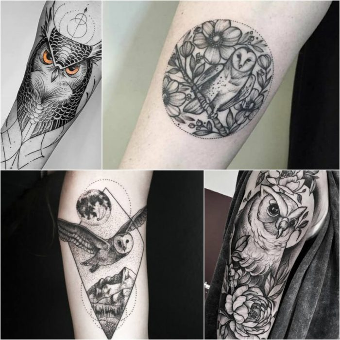 owl tattoo - owl tattoos black and grey - simple owl tattoos