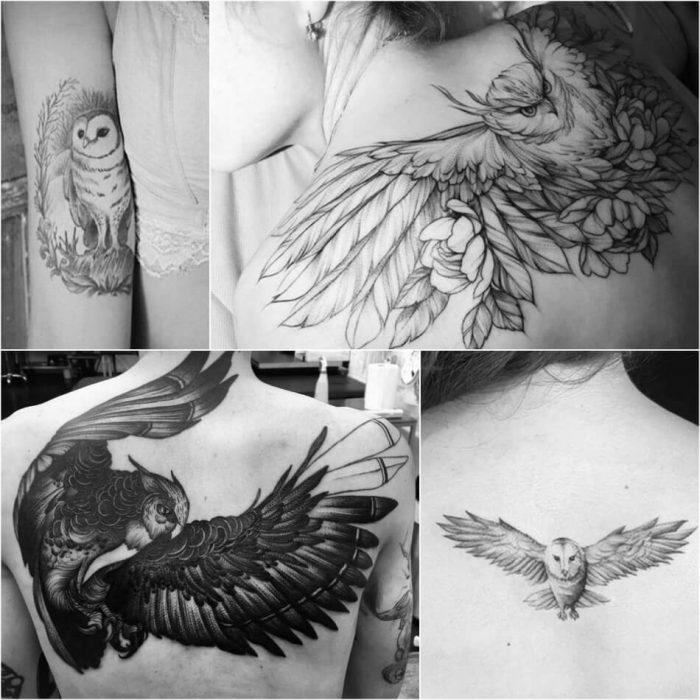 owl tattoo - owl tattoos black and white - owl tattoo on back