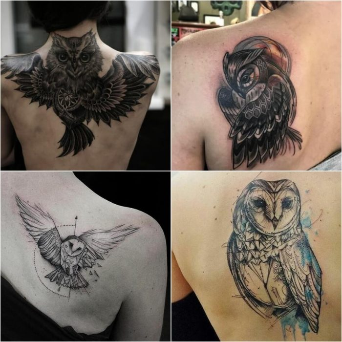 owl tattoo - owl tattoos on back - girly owl tattoos