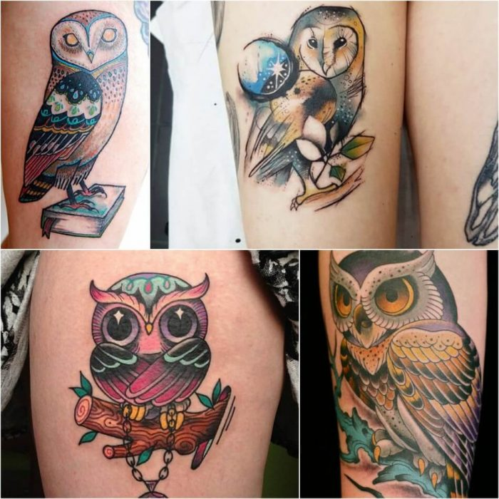 owl tattoo - owl tattoos on thigh - girly owl tattoos