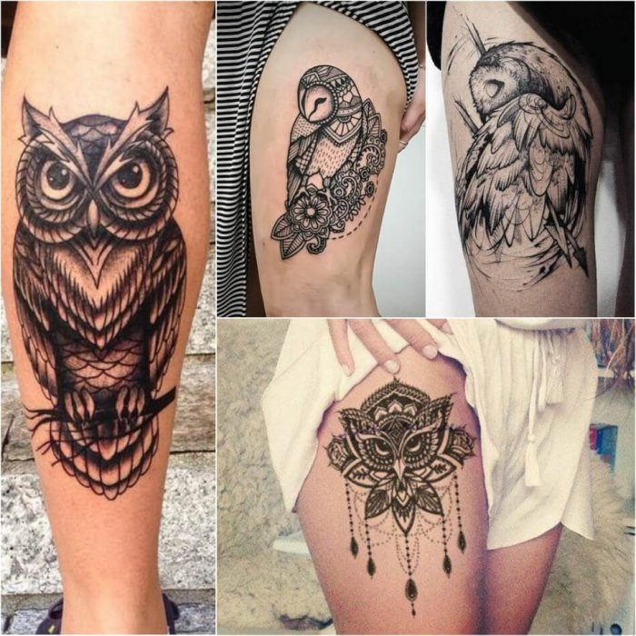 owl tattoos on thigh - owl tattoo - girly owl tattoos