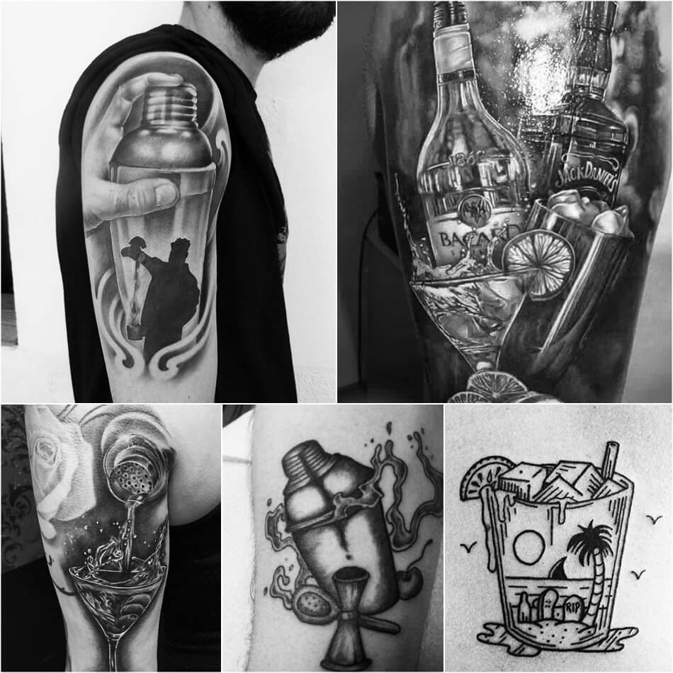 bartender tattoo - tattoo alcohol drink - cocktail tattoo