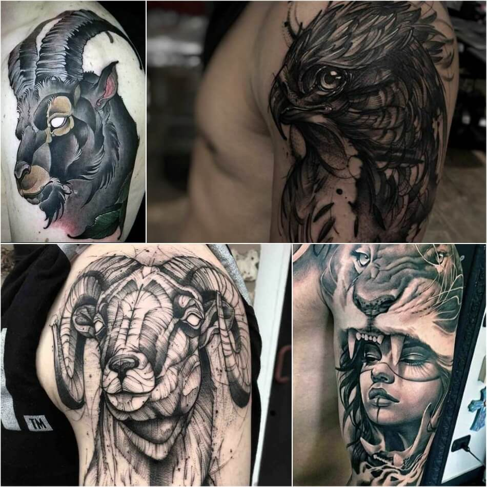 shoulder tattoos for men - shoulder tattoo - animals shoulder tattoos