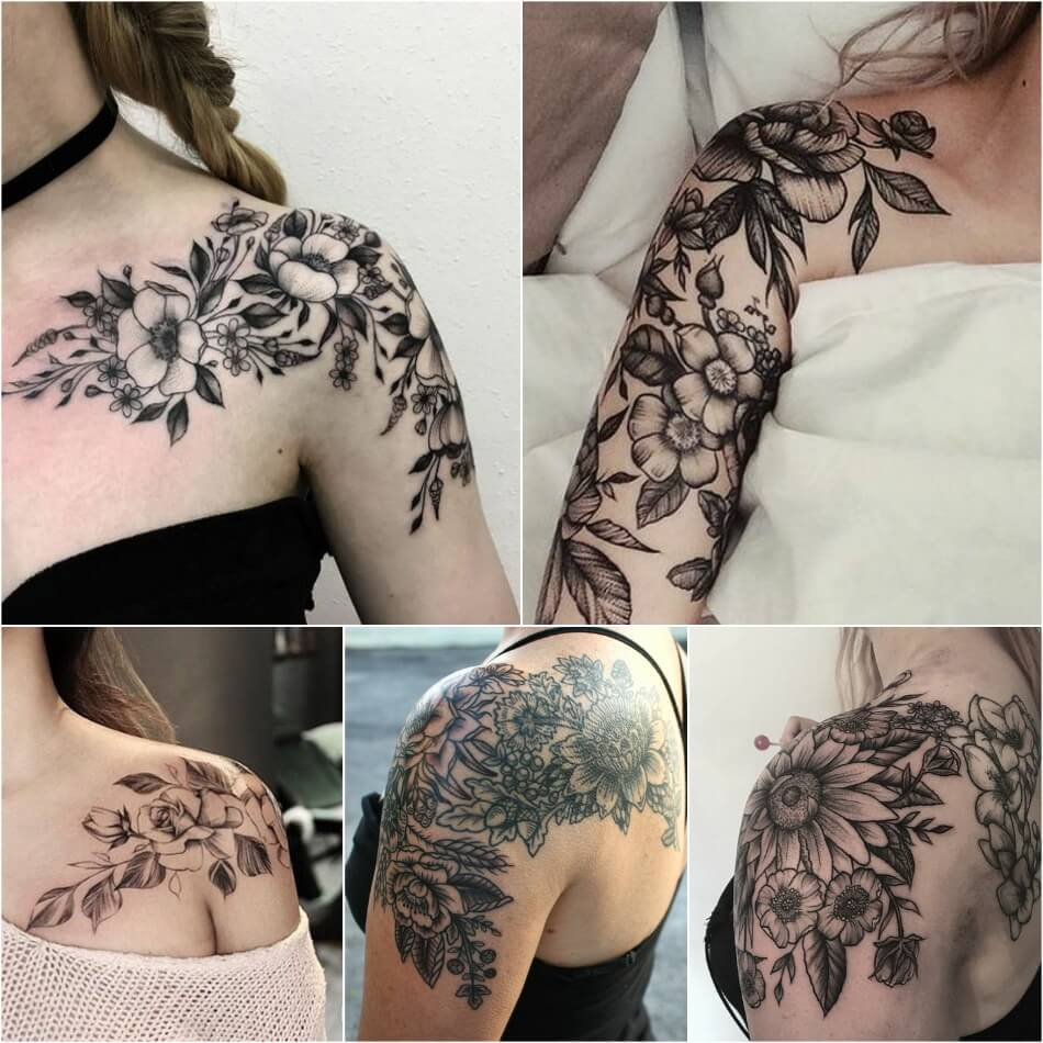 shoulder tattoos - shoulder tattoos for girls - flower shoulder tattoos