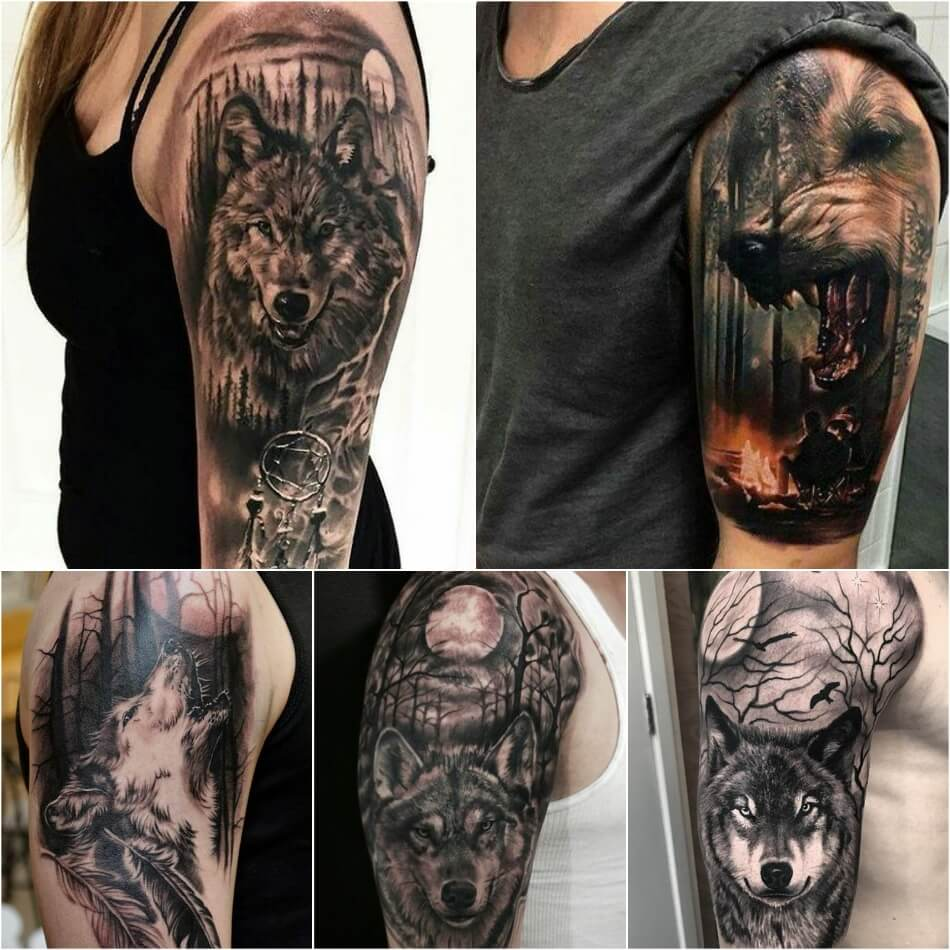 shoulder tattoos - shoulder tattoos wolf - men shoulder tattoo