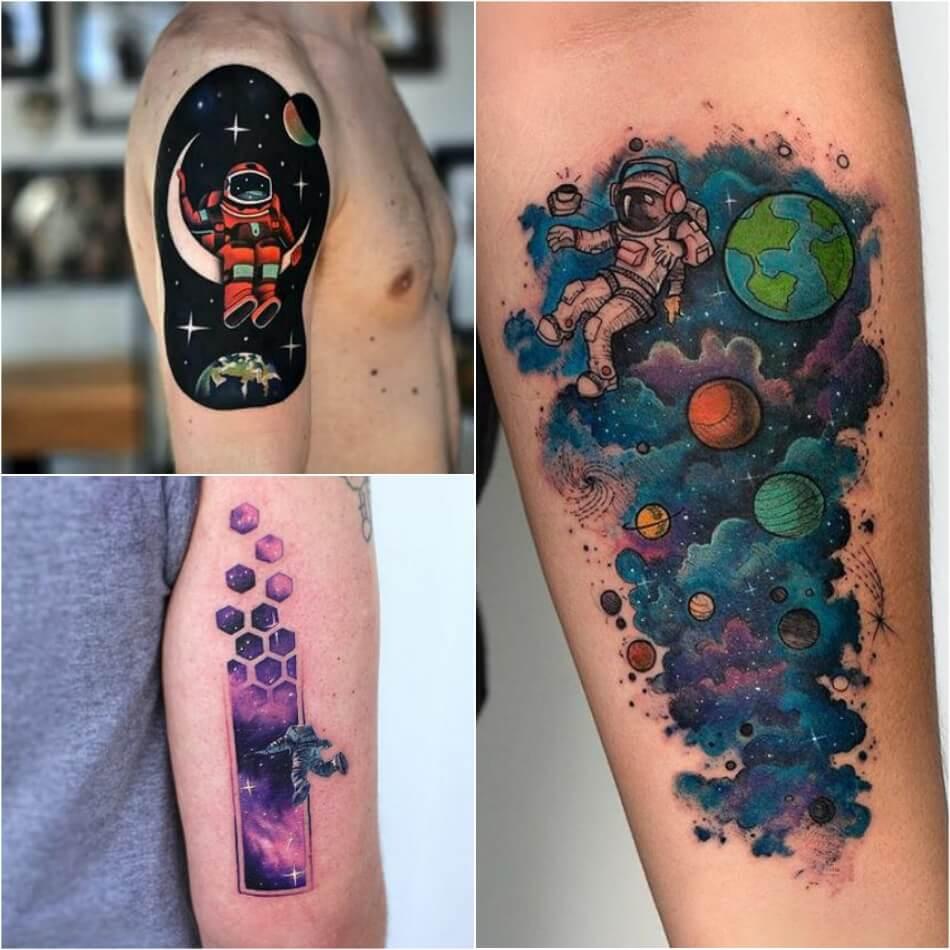 space tattoo - astronaut tattoo - planet tattoo ideas