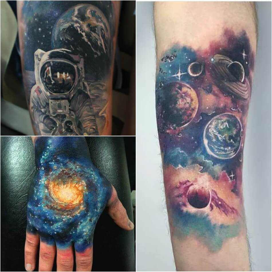 space tattoo - planet tattoo - cosmonaut tattoo