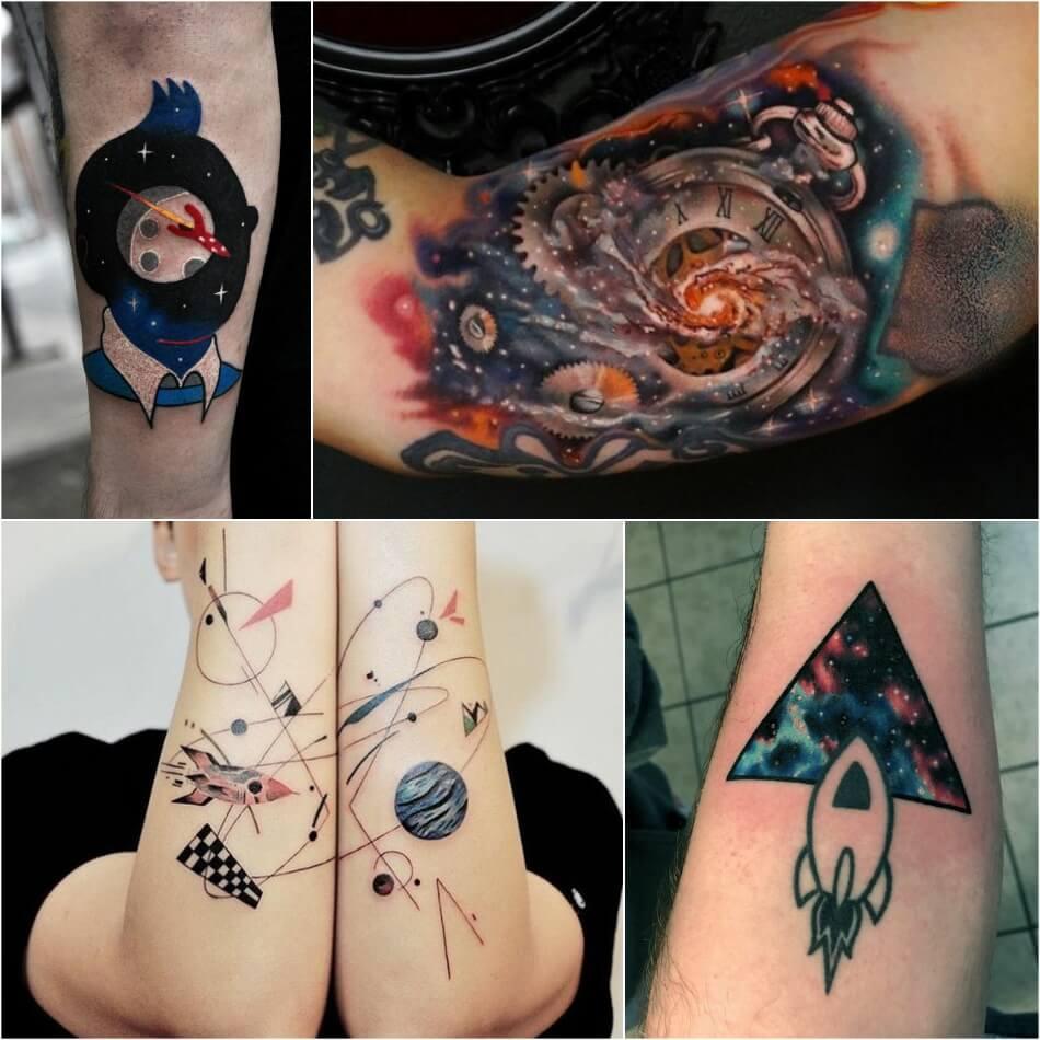space tattoo - planet tattoo - rocket tattoo