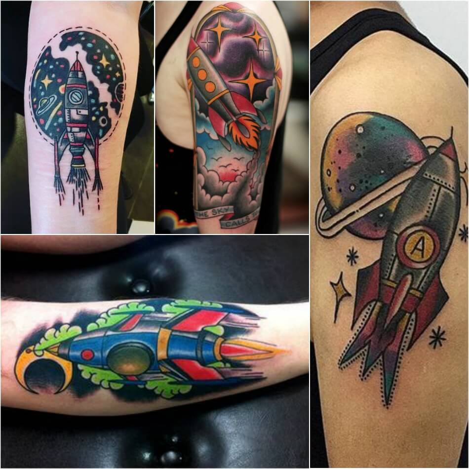 space tattoo - planet tattoo - rocket tattoo