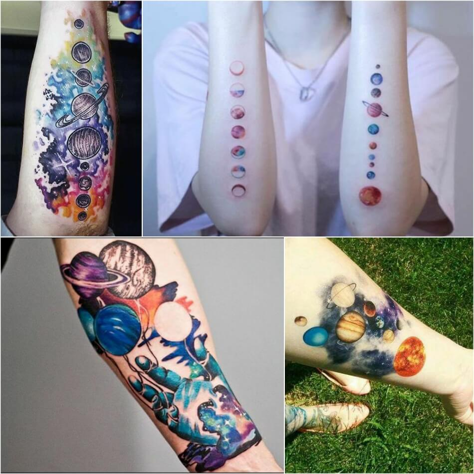 space tattoo - planet tattoo - space tattoo ideas