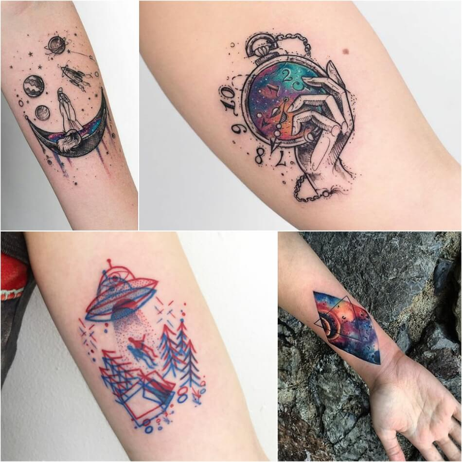 space tattoo - planet tattoo - space tattoos ideas
