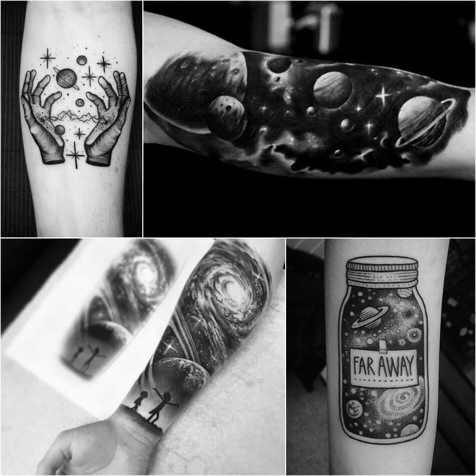 space tattoo - space tattoos black and white - planet tattoo