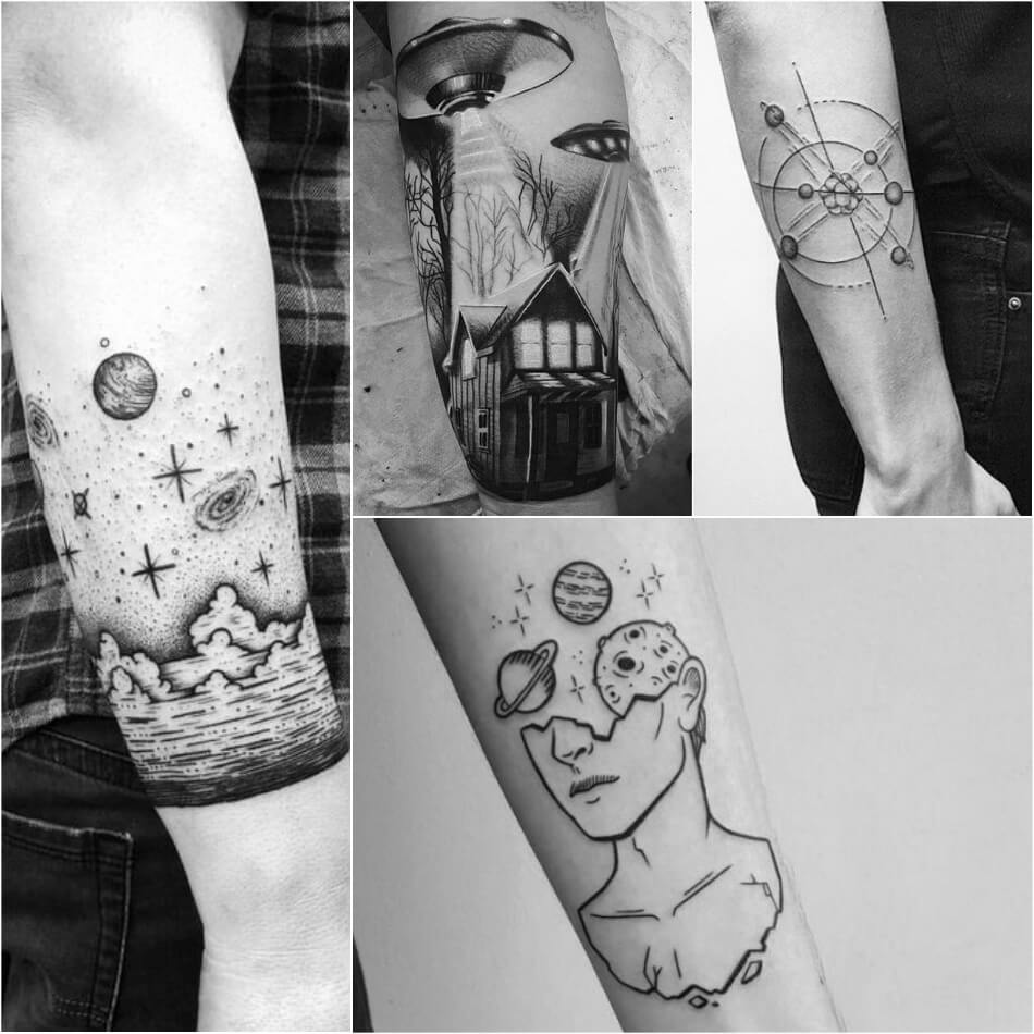space tattoo - space tattoos ideas - space tattoos black and white