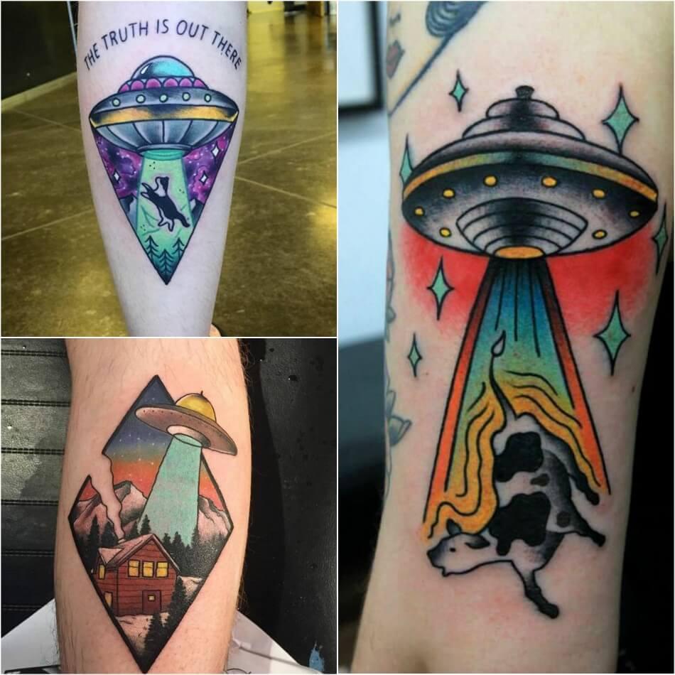 space tattoo - ufo tattoos - planet tattoo